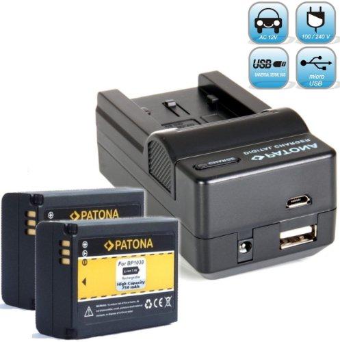 2X PATONA Ersatz für Akku Samsung BP1030 BP1130 mit Ladegerät 4in1 (inkl. MikroUSB Eingang)