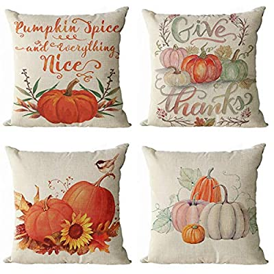 YeeJu Set of 4 Fall Pumpkin Harvest Decorative Throw Pillow Covers Autumn Thanksgiving Square Cotton Linen Cushion Covers Halloween Outdoor Couch Sofa Home Pillow Cases 18x18 Inch