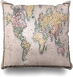 Fundas de almohada históricas color marrón vintage antiguo mapa del mundo antiguo Atlas Globe Retro Earth Discovery Decoración del hogar Chion funda de almohada, 45 x 45 cm