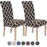 Colorxy Spandex Chair Covers for Dining Room Set of 2, Stretch Printed Chair Protectors Covers, Removable and Washable Moroccan Geometric Kitchen Chair Slipcovers, Brown