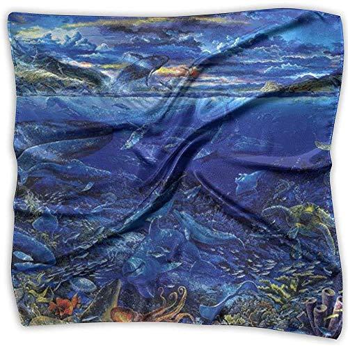 Bandana de seda,Pañuelo de papel pintado de animales marinos,Cómodas diademas cuadradas para la pesca de esquí atlético,100X100CM