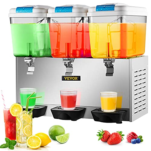 VEVOR Commercial Beverage Dispenser 14.25 Gallon 54L 3 Tanks Ice Tea Drink Machine 350W Stainless Steel 110V Fruit Juice Equipped with Thermostat Controller for Hotels Restaurant Schools