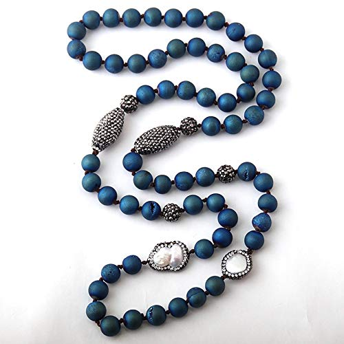Blue Druzy Beads Knotted Halsband Handmake Paved Natural Stone And Pearl Beads Necklace