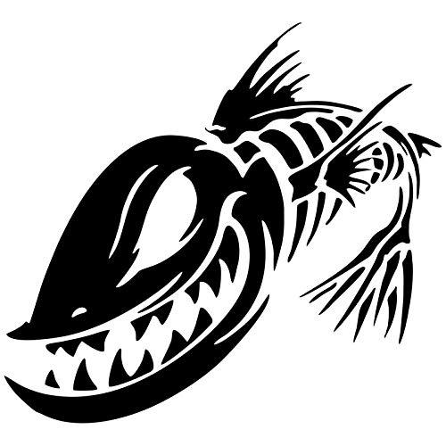 WAXY Pegatina de Vinilo para Coche 15 2x13 9 cm Calaveras Monstruo de Pesca Adhesivo Decorativo 3D para Coche Pegatina para Autos y Motocicletas-Black_2pcs