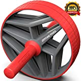 BIO Core Ab Roller Wheel with 2 Configurable Wheels and Non-Slip Handles – Ab Wheel Trainer with Kneeling Mat for Strong Core (Red/Grey)