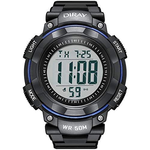 Men's Digital Sports Wrist Watch for Men, Large Face LED Backlight Screen Waterproof Stopwatch Alarm Casual Luminous Electronic Simple Watches (Blue)