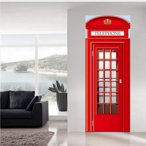 Fqz93in Nd Inglese Cabina Telefonica Stand Adesivi Porta Parete Fai da Te Murale Camera da Letto PVC Waterproo Home Decor Poster