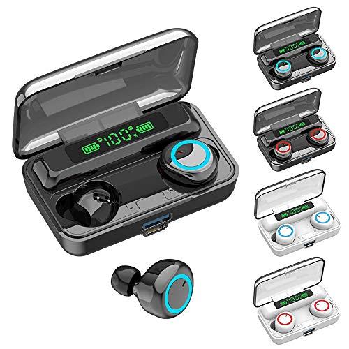 SHANGH Auriculares inalámbricos F9-3, Bluetooth 5.1, control táctil con caja de carga inalámbrica, TWS estéreo IPX7, resistente al agua, apto para el trabajo/deportes