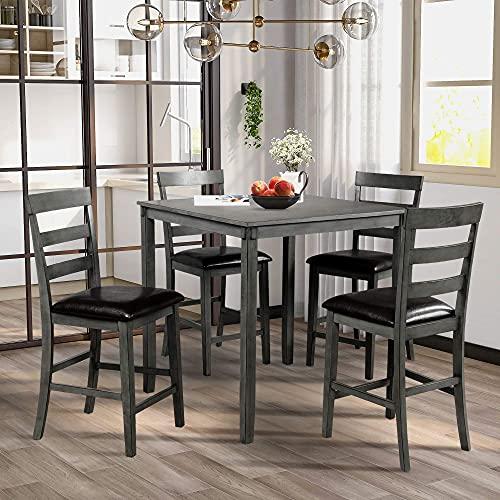 5-delige keukentafel set, vierkante aanrechtblad houten keuken eetset, eetkamer set met tafel en 4 stoelen, perfect voor eetkamer keukenmeubilair (bruin)
