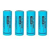 PKCELL 18500 - Batería Recargable de Litio para linternas LED (4 Unidades, 3,7 V, 1400 mAh)