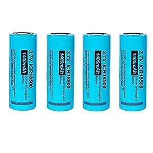 4 unids PKCELL 3.7V 1400Mah batería recargable de litio 18500 Batteies de iones de litio para linternas
