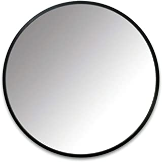 Mirror - Round Wrought Iron Bathroom, Wall Mounted Vanity, Nordic Style (Color : Black, Size : 60cm)