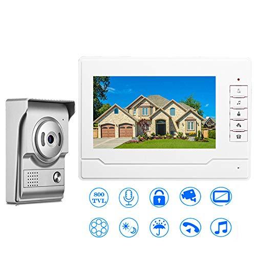 Hoeveelheid: 88 video-deurbel met 7 inch LED-display, one-touch-interphon met twee IR-visie, nachtzicht 25 en muziekLiscia eenvoudig aansluiten en spelen plug en play