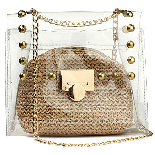 2 in 1 Transparente Geldbörse Kleine Schultertasche für Frauen, wasserdichte Kette Crossbody Tasche Gr. One size, khaki