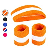 AFLGO Sweatband Set for Sports, Workout, Training & Exercise | 1 Headband & 2 Wristbands Cotton to Pair with Your Athletic Costume Apparel | Comfy & Durable Sport Accessories for Men (Orange/White)