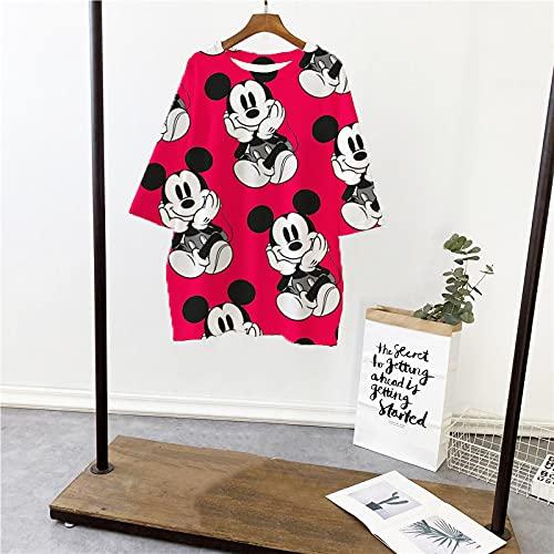 ShSnnwrl Señoras de Manga Corta Camiseta de Mickey Tops Verano Casual de Gran tamaño Camisetas de Mujer Hip Hop Streetwear Harajuku Camiseta de Manga Corta M 2