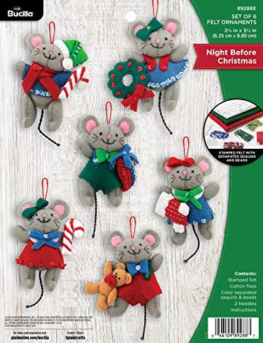 Bucilla Felt Applique Ornament Kit, Night Before Christmas, Set of 6