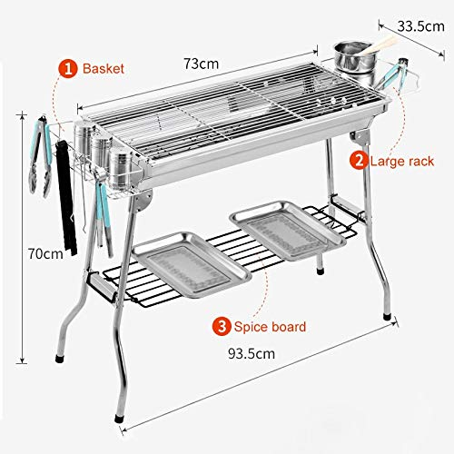 519ximadBsL. SL500  - YDHWT Bewegliche Faltbare Edelstahl Grill for Outdoor-Holzkohlegrill Grill Barbecue-Tools