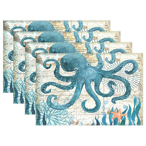 Jereee Blue Octopus Nautical Map Set of 4 Placemats Heat-Resistant Table Mat Washable Stain Resistant Anti-Skid Polyester Place Mats for Kitchen Dining Decoration