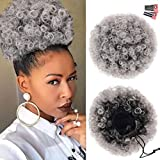 Afro Puff Drawstring Ponytail Extension for Black Women, Premium Ombre Gray #1BT0906 80 Gram Short Synthetic Afro Puff Ponytail for Natural Hair, Clip On Kinky Drawstring Curly Ponytail Bun
