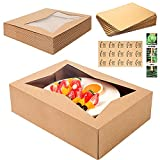 FATRE FOODS (15 Pack) Cake Boxes with Cake Boards Included – Easy-Assembly, 14 x 10 x 4 Inch, Dessert Boxes with Window, Stickers – Store & Sell Cakes, Cupcakes, Muffins, & Donuts in Bakery Boxes