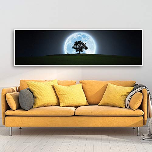 oioiu Abstract Earth Reflection Moon Artist Decoración del hogar Planet Canvas Abstract Blue Moon Night Scene Forest Tree Landscape HD Print Painting Core