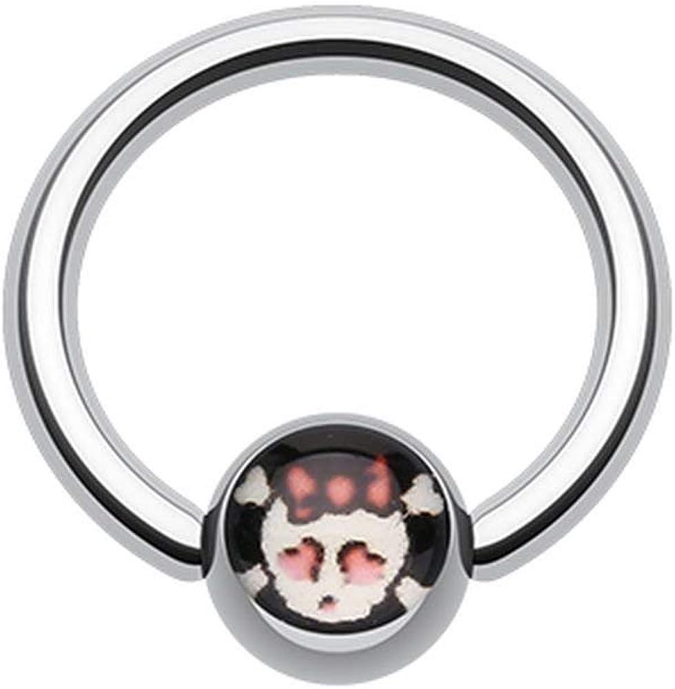 Covet Jewelry Cute Emo Skull Logo Ball Captive Bead Ring