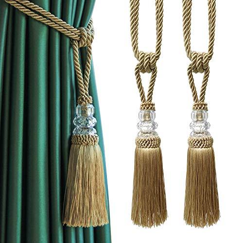 Fenghuangwu 2Pcs Tassel Curtain Tiebacks Handmade, Elegant Crystal Curtain Holdbacks for Home Office Decor-Golden