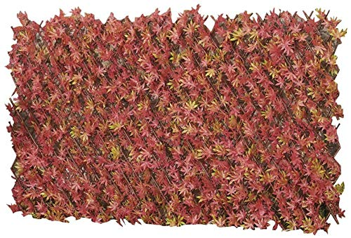 HTTER Artificial Evergreen Laurel Leaf Hedge Trellis 1 x 2m Expandable Privacy Screening Panel for Gardens,Artificial Red Acer Hedge Trellis,1 x 2m