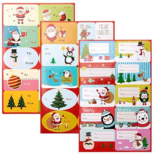 Vidillo Pegatinas Navideñas Etiquetas Adhesivas Navidad Stickers, Etiqueta Pegatinas Etiquetas Autoadhesivo Papá Noel Muñeco de Nieve Árbol de Navidad Navidad Festivales Festivos 108 pcs
