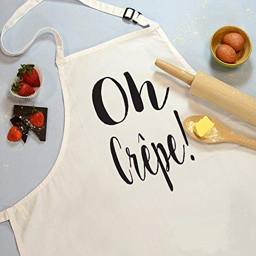 Ahora Disponible en Amazon hecho a mano color blanco delantal con correas ajustables para crepes, Oh. Diseño, Chef delantal, diseño de