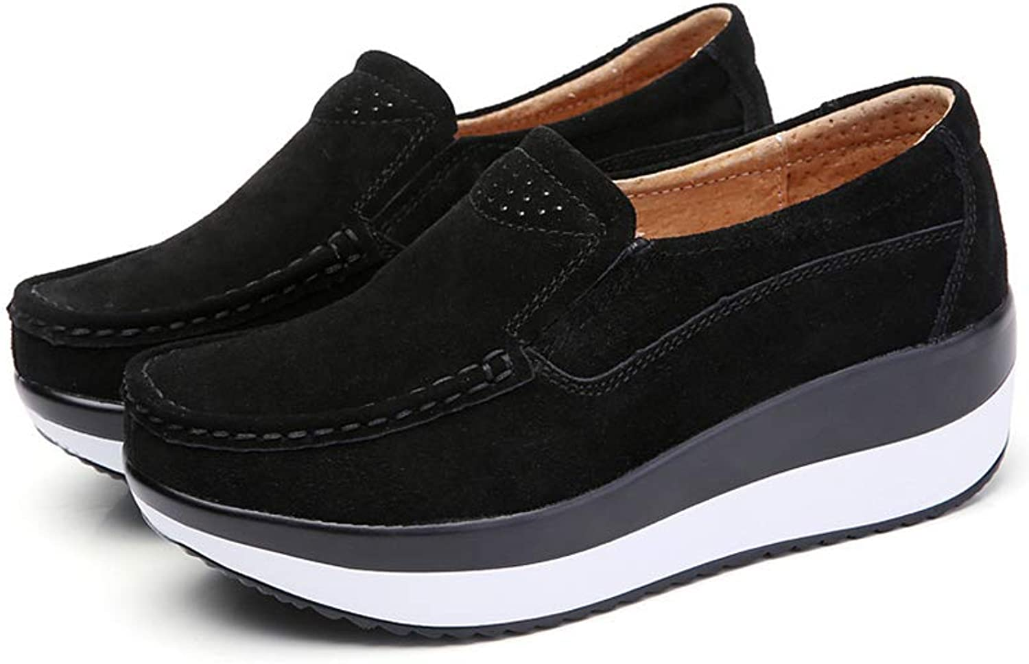 Duberess Women's Suede Leather Slip-on shoes Comfort Wedge Moccasin Loafers Casual Walking shoes Trainers Platform Sneaker