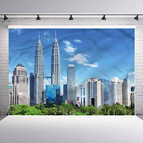 5x5FT Vinyl Photography Backdrop,Urban,Kuala Lumpur Skyline City Background for Selfie Birthday Party Pictures Photo Booth Shoot