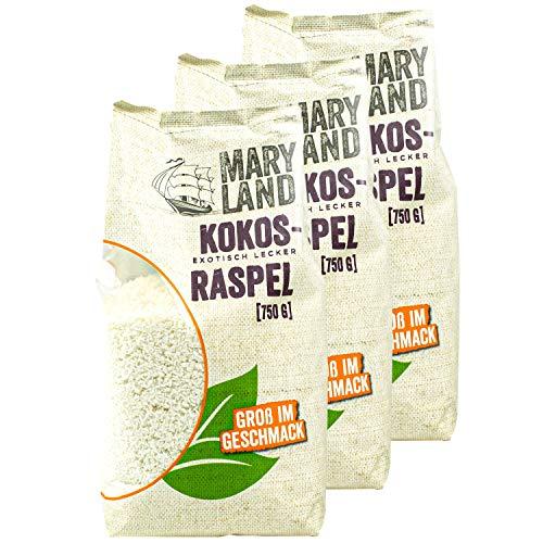 Maryland - 3er Set Kokosraspeln ungesüßt in Premium Qualität 750 g Packung - Getrocknete Kokosflocken exotisch lecker - Kokos Coconut Flakes ideal für Müsli, Süßspeisen, als Topping oder zum Backen