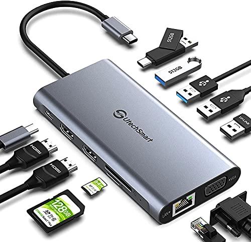 Docking Station, UtechSmart 12 in 1 Full Quadruple Display USB C Docking Station, USB C Hub Compatible for macOS&Windows,Thunderbolt 3 Dock(HDMI,VGA,PD3.0,USB-C,Ethernet,SD/TF Card Reader,USB Ports)