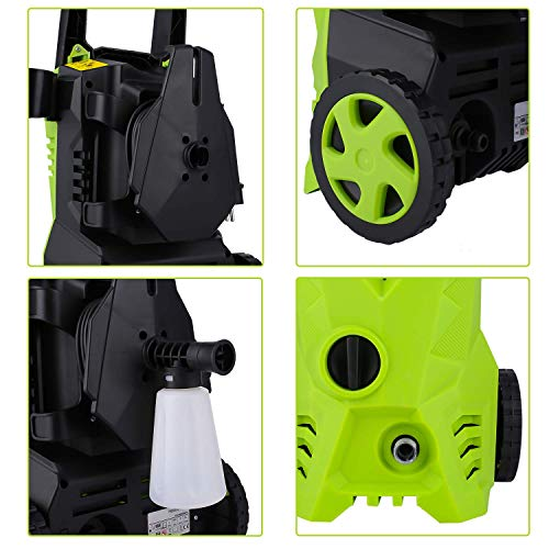 Homdox 2500PSI Electric Pressure Washer 1.6GPM Power Washer High Pressure Cleaner Machine with 4 Nozzles Foam Cannon,Best for Cleaning Homes, Cars, Driveways, Patios (Green)
