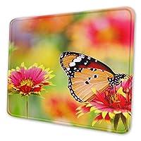 咲く花と蝶 マウスパッド 20 X 24cm 滑り止め 防水 おしゃれ 洗える ビジネス用 家庭用 ゲーム用