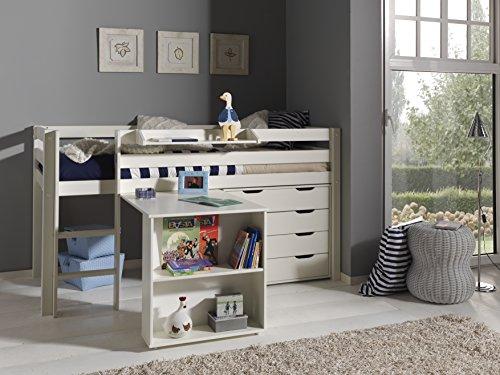Vipack 'Autobett picohsbuks14Pino Hochbett mit Schreibtisch und Kommode 4Schubladen Kiefer massiv weiß