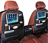 PALMOO [New and Improved Pu Leather Car Back Seat Organizer and iPad Holder, Universal Use as Car Backseat Organizer for Kids, Storage Bottles, Tissue Box, Toys - (1 Pack, Black)