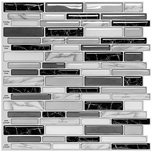 "Uoisaiko 10 Sheets Peel and Stick Kitchen Backsplash Tile 12"" x 12"", 3D Marble Decorative Tile Vinyl Subway Wall Tile Backsplash for Bathroom"