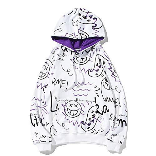 Frühling bedeckt mit gedruckten Buchstaben Cartoon Graffiti Hoodie Männer und Frauen Marke Large Size Pullover Hoody Loos