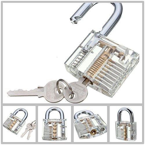 Ojah®–New Cutaway transparent Vorhängeschloss Schloss für Locksmith Praxis Training Skill Pick-Set–siehe durch–Pick a Lock–2Schlüssel inklusive–Lockpicking Trainer