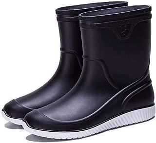 Laple Mens Rain Boots Slip On Non-Slip Waterproof Rubber Ankle Boots Rain Shoes