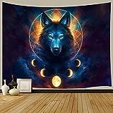 Wolf Decor Tapisserie, Tier Universum Galaxy Mond Traumfänger Hippie Beruf Kunst Wandbehang für Schlafzimmer Wohnzimmer College Wohnheim TV Hintergrund Wanddecken 152,4 x 101,6 cm