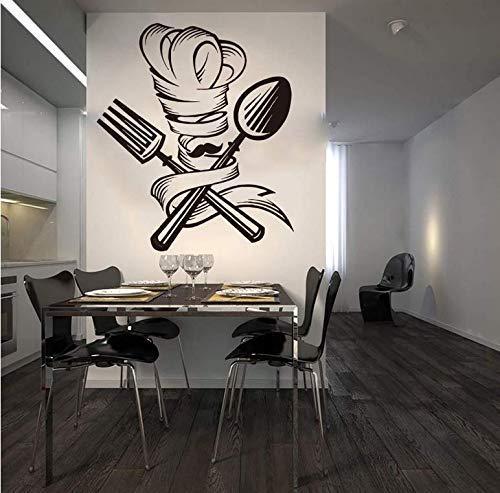 Cuchara Tenedor Chef Barba Sombrero Etiqueta De La Pared Cocina Restaurante Chef Barba Herramienta De Cocina Calcomanía De Pared Restaurante Vinilo Decoración 56X49Cm