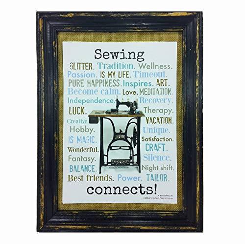 Sewing connects. Druck Poster Nähmaschine AnneSvea Sewing Handmade Deko englisch
