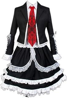 CHANGL 7PCS / Set Disfraz de Cosplay Carnaval de Halloween Danganronpa Celestia Ludenberg Lolita Gótico Uniforme de Secundaria JK Trajes de Vestir Peluca Opcional con Accesorios