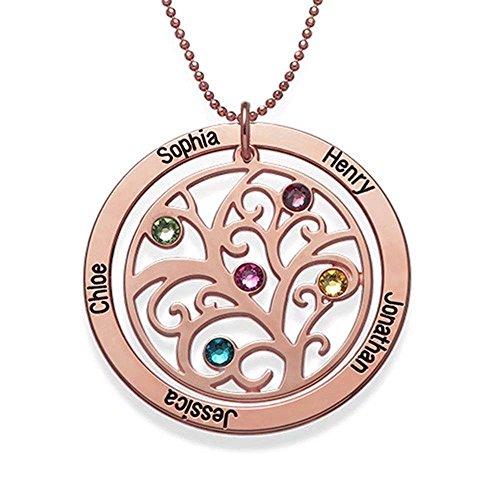 925 Sterling Silber Runden Stammbaum Halskette Name Halskette mit 7 Namen & 7 Birthstones für Mutter Gravur