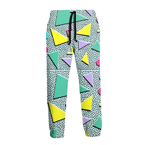 Men's Jogger Sweatpants 80S 90S Style Lightweight Jogger Pants with Elastic Waist for Workout Training White