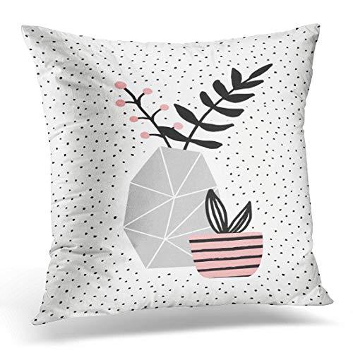 N/A Funda de cojín con diseño geométrico de flores de hormigón gris con ramas negras y maceta rosa con plantas jugosas sobre una bonita y moderna funda de cojín decorativa para el hogar